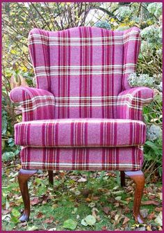 Bespoke plaid, Queen Ann wingback arm chair in pink Welsh flannel.