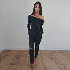 Jumpsuits For Women Sexy 2018 Summer New Arrival High Street Style Elegant Long Sleeve Slash-Neck Off Shoulder Jumpsuit Rompers Rompers Women, Jumpsuits For Women, Women's Rompers, Floral Playsuit, Off Shoulder Jumpsuit, Black Off Shoulder, Long Jumpsuits, Winter Jumpsuits, Overalls Women