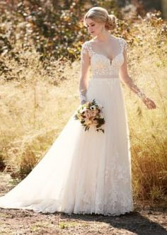 Illusion lace wedding dress with tulle skirt