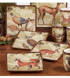 Woodland Canape Plates, set of 4