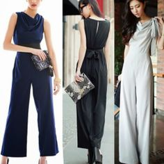 18873ed36dbe Draped Collar Sleeveless Womens Wide Leg Jumpsuits Rompers Trousers Pants  6846