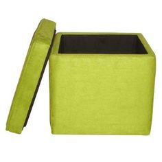 This lime green storage ottoman is on sale for $17.00 at Target right now. It also comes in blue, black, brown, pink or navy. Purple, gray and red are sold in stores only.