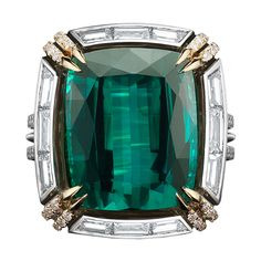 Green-Blue Tourmaline & Diamond Ring   From a unique collection of vintage three-stone rings at https://www.1stdibs.com/jewelry/rings/three-stone-rings/