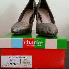 Heels by Charles David (Brand New) Brand New, Never Worn. Size 9.5. They were purchased from a boutique.  Gorgeous 4.1/4 High Heel.  Color is Pewter Snake.. Charles David Shoes Heels