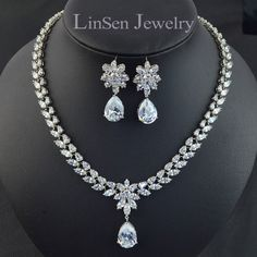 Clip On Earring Wedding Bridal Jewelry Set Aaa Cubic Zirconia Necklace Earring Jewelry Set Without