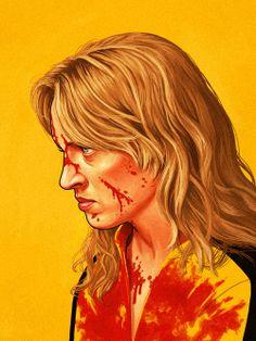 The Bride (Uma Thurman) from Kill Bill by Mike Mitchell - Quentin Tarantino Mike Mitchell, Kill Bill, Tarantino Films, Quentin Tarantino, Jasper Johns, Cultura Pop, Portrait Illustration, Character Illustration, Illustration Fashion