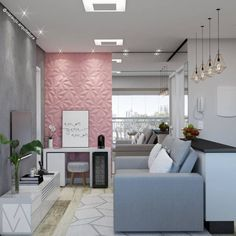 Nail Salon Design, Salon Interior Design, Spa Studio, Classy Living Room, Sala Grande, Nail Designer, Pink Room, Big Girl Rooms, Diy Home Crafts