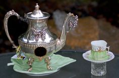 Birdhouse Garden Art SPRING LEAF teapot by QueenBeeAndMrMan