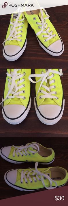 Converse Chuck Taylor volt green sneakers size 8 Converse Chuck Taylor Oxford All Stars Sneakers in volt green size 8 women's size 6 men's. Nice and clean, show little wear just a few minor spots in the back on canvas. From a smoke free home. Very cute Converse Shoes Athletic Shoes