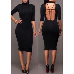 MalangFashion Black Plain Backless Round Neck Elbow Sleeve Midi Dress