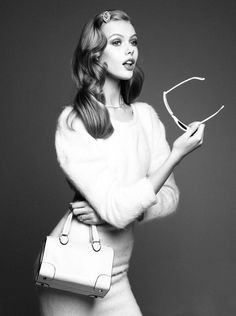 Everything. Fuzzy sweater, barrette, boxy bag. | Frida Gustavsson in Vogue Nippon August  by Victor Demarchelier