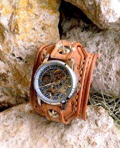 Steampunk Leather Wrist Watch Men's watch por CuckooNestArtStudio, $124,00