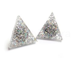 Holographic Triangle Earrings,Silver Glitter Earrings,Winter Wonderland,Glitter Jewelry,Sparkle Earrings,Triangle Geometric Jewelry (E242) by MistyAurora on Etsy https://www.etsy.com/listing/250555655/holographic-triangle-earringssilver
