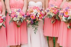 Natalie's stunning blush-colored wedding dress, with details of her peony and rose bouquets, by Hunter Photographic.