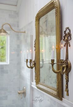 FRENCH COUNTRY COTTAGE: French Cottage Bathroom Renovation- I have those lovely sconces, but mine haven't been electrified.