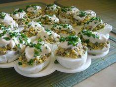 Jajka faszerowane pieczarkami Mary Berry, Polish Recipes, Deviled Eggs, Easter Recipes, Baked Potato, Good Food, Food And Drink, Appetizers, Cooking Recipes