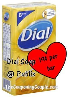 Great PUBLIX deal on Dial bar soap! Just 19 cents per bar wyb the 8 pack!  Click for details http://www.thecouponingcouple.com/deal-at-publix-on-dial-bar-soap-19%c2%a2-per-bar/
