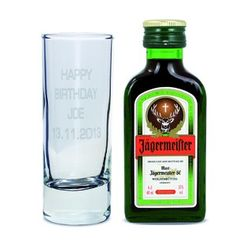 Shot Glass and Mini Jagermeister - Text Only | Shot Glasses | Exclusively Personal
