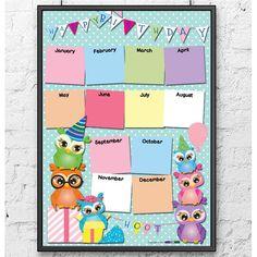 Owls Birthday Calendar Poster by Liza Rohmat Birthday Calendar Classroom, Birthday Calendar Board, Birthday Board, Diy Birthday, Birthday Chart For Preschool, Birthday Charts, Kindergarten Crafts, Preschool Crafts, Birthday Tracker