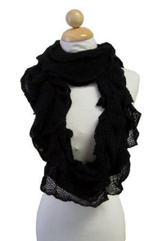 Black Knitted Ruffled Style Loop Scarf Peach Couture. $9.95