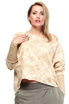 Beżowa asymetryczna bluzka damska plus size Dolman Top, Lingerie, Beige, Blouse, Long Sleeve, Sleeves, Model, Fashion, Tunic Blouse