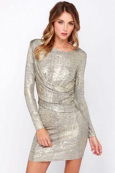 Olive & Oak Young Money Gold Dress at Lulus.com 67.