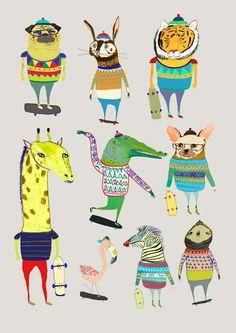 Skateboard art print childrens poster kids by AshleyPercival