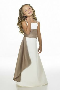 A-Line Strapless Natural Waist Pleated Long Satin White Junior Bridesmaid Dresses