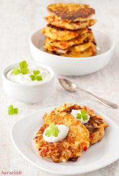 Rezept für Blumenkohl-Puffer,  Carb-entschärft Puffer, Wer, Tr 4, Eggs, Trends, Breakfast, Food, Pancakes, Recipes With Cauliflower