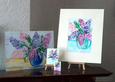Original art in wax paintings Lilac in many sizes ..... A4 A5 ACEO Doll House