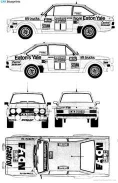 Ford E Escort Mk.II Rallye blueprints, vector drawings, clipart and pdf templates Blueprint Drawing, 3d Studio, Ford Escort, Rally Car, Ford Focus, Lifted Trucks, Transportation, Clip Art, Templates