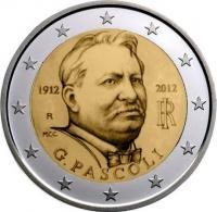 """Italië bijzondere 2 Euromunten - Italië 2 Euro 2012 """"Pascoli"""" Euro Coins, Valuable Coins, Euro 2012, Gold Money, Commemorative Coins, Saving For Retirement, World Coins, Coin Collecting, Projects"""