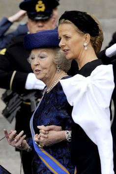 Princess Beatrix and Princess Mabel of Holland 4/30/13 -- Princess Mabel is wearing a bow from a portion of her wedding dress. Her husband, Prince Friso, was nearly killed in a avalanche Feb 2012 and remains in a coma.