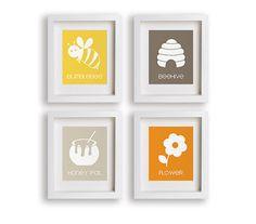 Baby's First Art Print - Bumblebee - Set of four prints - Nursery Art, Bee, Beehive, Honey Pot, Flower, Nursery Decor, Childrens Art