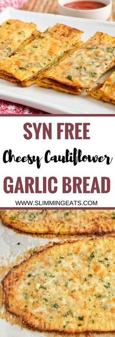 Slimming Eats - Son Free Cheesy Cauliflower Garlic Bread - gluten free, vegetarian, Slimming World and Weight Watchers friendly