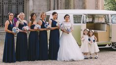 Bride, Bridesmaids, flowers girl formal wedding photography