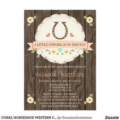 CORAL HORSESHOE WESTERN COWGIRL BABY SHOWER 5X7 PAPER INVITATION CARD I love that these are customizable! This would be cute for a horse themed birthday too!