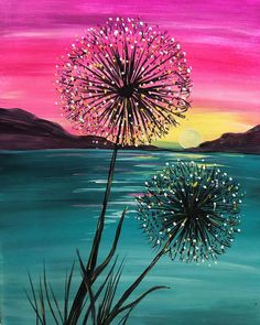 View Paint and Sip Artwork - Pinot's Palette , Cute Canvas Paintings, Canvas Painting Tutorials, Simple Acrylic Paintings, Diy Canvas Art, Acrylic Painting Canvas, Diy Painting, Watercolor Paintings, Sunset Paintings, Sunset Painting Easy