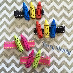 Back to School clippies! ✏️ #berrydaintyhairaccessories #backtoschool #hairclips #crayons #backtoschoolhairclips