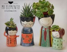 kitchen decoration – Home Decorating Ideas Kitchen and room Designs Ceramic Flower Pots, Ceramic Planters, Clay Art Projects, Clay Crafts, Garden Crafts, Garden Art, Flower Pot People, Cactus Y Suculentas, Painted Pots