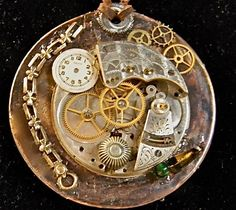 Artisan Steampunk Pendant Cold Connections of Antique Watch Parts, Copper, Brass, and Leather. $55,00, via Etsy.