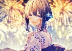 Anime picture original oshio (dayo) single blush looking at viewer short hair open mouth fringe brown hair hair between eyes purple eyes signed payot japanese clothes traditional clothes looking back upper body hair flower tears floral print 564749 en Kawaii Anime Girl, Anime Girl Cute, Beautiful Anime Girl, Anime Art Girl, Manga Girl, Anime Girls, Kawaii Art, Anime Chibi, Anime W