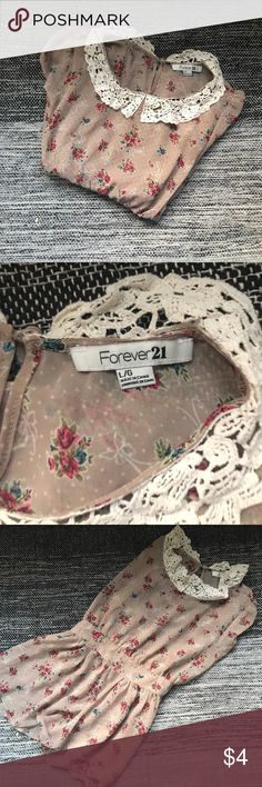 Forever 21 Top Gently worn, good condition. Sheer Blouse lace collar. Sweet floral print. Forever 21 Tops Blouses