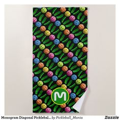 Monogram Diagonal Pickleballs and Pickles Beach Towel