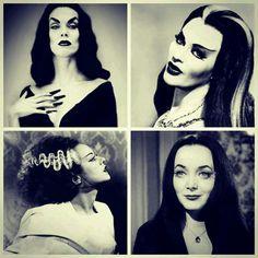 Vampirella, Lily Munster, Bride of Frankenstein and Morticia Addams