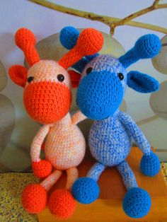 Above listing is for 2 crocheted giraffes, just like the picture. The mixed color giraffes are handmade and a perfect gift for a twin (baby boy and baby girl). Also a perfect gift for a baby shower. Beautiful amigurumis for the baby room. The giraffe is made from arcryl yarn with