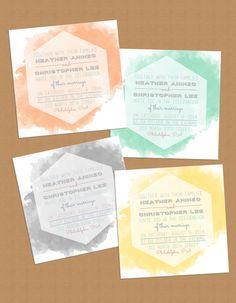 Modern Watercolor Hexagon Wedding Invitation by LaPaperPatisserie, $12.00