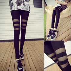 """Fashion lace stitching leather leggings SE9312   Coupon code """"cutekawaii"""" for10% off"""