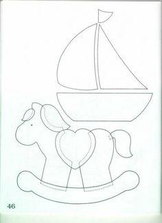 Para fazer a mantinha acima, ou outro trabalho para criança, aí vai o risco do barquinho e mais o cavalinho. (Dety)