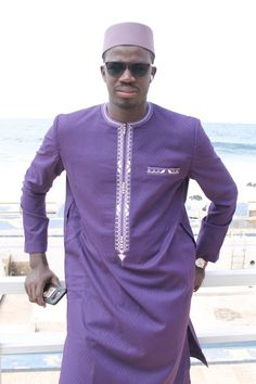 Modern african outfit comes with top and pant African Wear Styles For Men, African Shirts For Men, African Dresses Men, African Attire For Men, African Clothing For Men, Beard Styles For Men, Kaftan Designs, Mens Kurta Designs, Nigerian Men Fashion